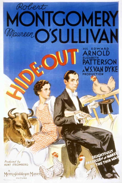 Ad art featuring Maureen O'Sullivan as Pauline Miller and Robert Montgomery as Jonathan Wilson, wearing tuxedo, surrounded by farm animals indlucing cow, chicken and rooster.
